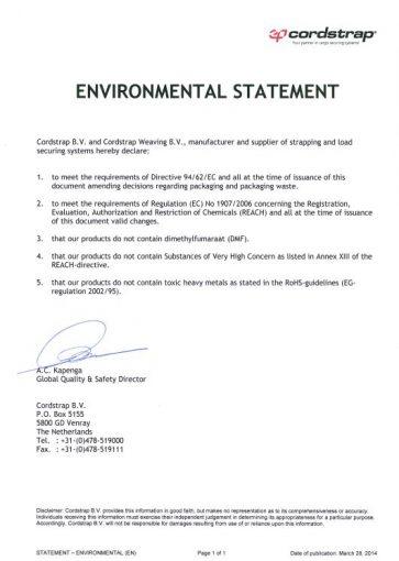 Cordstrap Environmental Statement